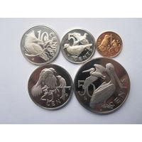 Британские Виргинскте острова полный комплект монет 1973 - пруф!