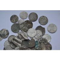 Разные серебряные монеты. Некондиция. 50 штук. 40 грамм