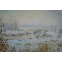 """Картина маслом """"Зимний туман"""""""