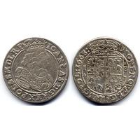 Орт 1663 AT, Ян II Казимир Ваза, Краков. Рв: 5-польный герб под короной, герб Слеповрон без щита внизу