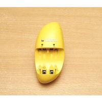 Зарядное устройство Varta 57062 (жёлтый цвет). Характеристики: зарядка до 4x АКБ типа АА/ААА, световая индикация.