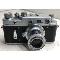 Фотоаппарат Зоркий-2С 1956 г. с выдвижным объективом Индустар-22 ранний готовый к съёмке