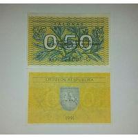 """Литва Р31x Ошибка 0.5 Талона 1991 UNC.""""VALSTYBINIS"""".AL."""