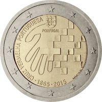 2 евро Португалия 2015 150 лет Португальскому Красному Кресту UNC из ролла