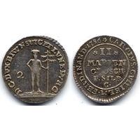2 мариенгроша 1786 C, Германия, Брауншвейг-Вольфенбюттель. Штемпельный блеск, коллекционное состояние