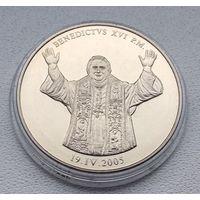 Бенедикт ХVI, Тираж-9999шт, Посеребрение, Документ 2005 7-15-7
