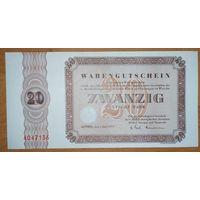 20 марок 1973 года - ФРГ (товарный ваучер) - UNC - редкая!