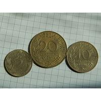 Лот #80: Франция: 5 сантимов 1980, 10 сантимов 1980, 20 сантимов 1981