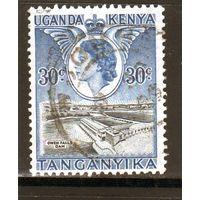 Британские колонии.Кения,Уганда,Танганьика.30с. Королева Елизавета II. Дамба.