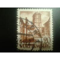 Германия 1948 Вюртемберг фр. зона вход в замок