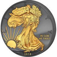"""США 1 доллар 2018г. """"Шагающая Свобода: """"Golden Enigma Premium"""". Монета в капсуле; подарочном футляре; номерной сертификат. СЕРЕБРО 31,135 гр. (1 oz)."""