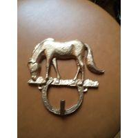 Вешалка, ключница латунная Лошадь, 13,5*14 см.
