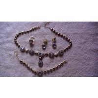 Набор: калье, серьги, браслет, перстень с камушками. распродажа