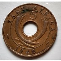 Британская Восточная Африка 5 центов, 1942 Без отметки  2-2-32