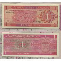 Распродажа коллекции. Нидерландские Антилы. 1 гульден 1970 года (P-20a - 1970 Muntbiljet Issue)