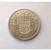 Новая Зеландия (Георг V) 1/2  кроны 1934 г.  серебро
