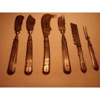 Старинный Сервировочный набор Златоустъ. 6 предметов.Гравировка.Конец XIX-го века.