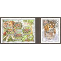 2018 Кот-д Ивуар Фауна, большие кошки, тигры  1KB+1BL MNH