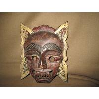 С 1 рубля!Африканская антикварная маска красное дерево высота 26 см