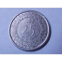 Суринам 25 центов 1988 г.Аукцион с 1.00 руб.