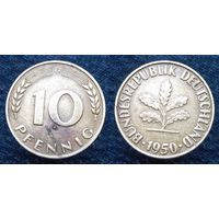 """W: Германия (ФРГ) 10 пфеннигов 1950 """"G"""" (157)"""