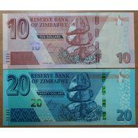 Набор 10 и 20 долларов 2020 года - Зимбабве - UNC