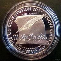 США, 1 доллар, 1987, Конституция, серебро, пруф