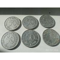 6 монет 3-го рейха одним лотом.