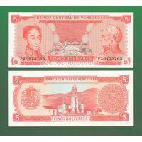 Банкнота Венесуэла 5 боливаров 1989 UNC ПРЕСС