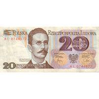Польша. Банкнота номиналом 20 злотых образца 1988 года