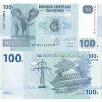 КОНГО 100 франков 203 года ПРЕСС из пачки UNC