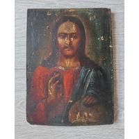 """Икона, старая, классический сюжет: """"Закон Божий: благославляющая рука Иисуса Христа"""", красивая икона, фотографии сделаны под разными углами освещения... размеры: 23.7 см./17.7 см./1.5 см..."""