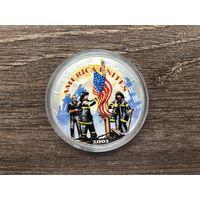 """США 1 доллар 2001 год """" Walking Liberty - Шагающая Свобода """" Ag серебро цветная UNC идеал"""