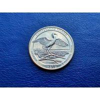 США. 25 центов (квотер, 1/4 доллара) 2018 D. Национальное побережье острова Кумберленд.