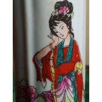 Ваза флакон старая Япония ручная разрисовка фарфор