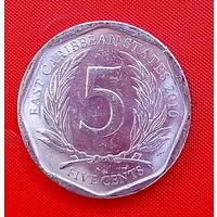 36-11 Восточные Карибы, 5 центов 2010 г.