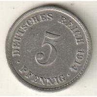 Германия 5 пфенниг 1914 А