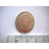Бельгия 50 сантимов 1912 г. (король Albert) DES BELGES серебро, AU
