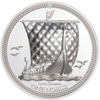 "RARE Остров Мэн 1 Noble 2020г. ""Корабль. Парусник."". Монета в капсуле; подарочном футляре; сертификат; коробка. СЕРЕБРО 62,20гр.(2 oz)."