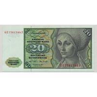 Германия ФРГ 20 марок 1970 года. Более редкий тип и год! Состояние XF