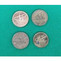 Кувейт, набор 4 монеты, 5 и 10 филсов, 1979, 1980, 1983, 2007г. Ю208