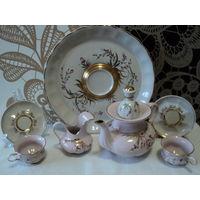 Кофейный сервиз(ручная роспись ,розовый и белый фарфор) Коростень 1960-91гг(на 5 персон).лот 16