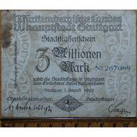 3 миллиона марок 1923г. Штутгард