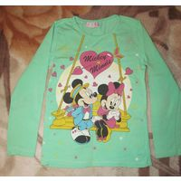 Бирюзовая футболка для девочки, рост 122-128