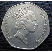 Гибралтар. 50 пенсов 1988 г.