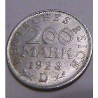 """Германия, 200 марок 1923 год, """"D"""""""