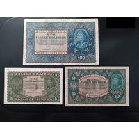 Польша, 5,10,100 марок, 1919 г. одним лотом