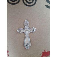 Крестик серебряный 84 проба с эмалью