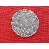 Германия 1/2 марки 1913г. А серебро