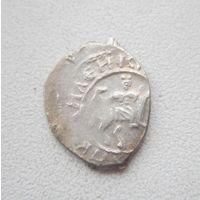 R.Монета великого князя Василия II (темный), чекан. 1425 - 1446 годы.(Всадник с соколом вправо. Самсон со львом.)